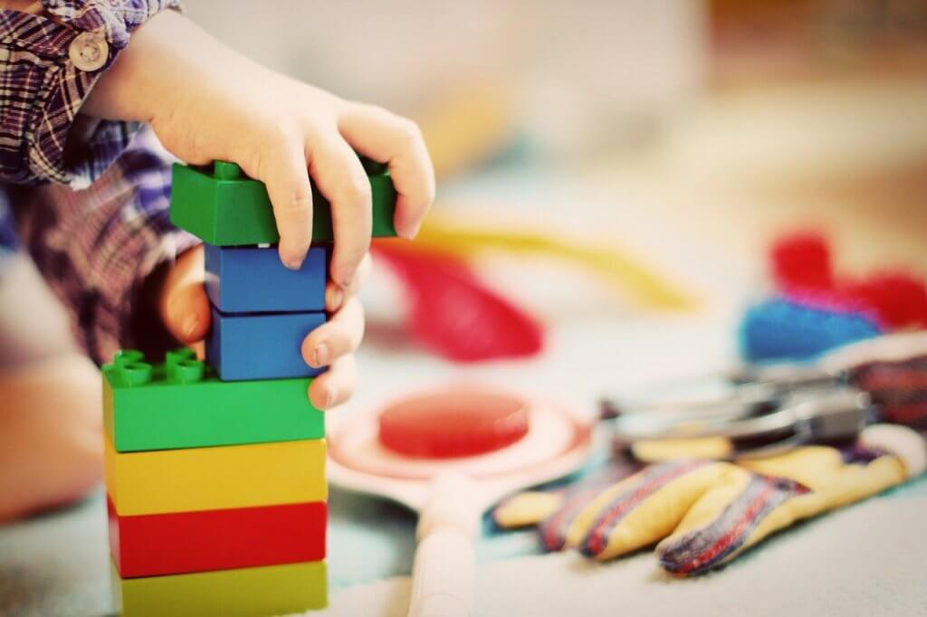child, tower, building blocks